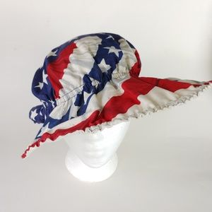 4th of July Flag Hat Bonnet Elastic OS Wide Brim